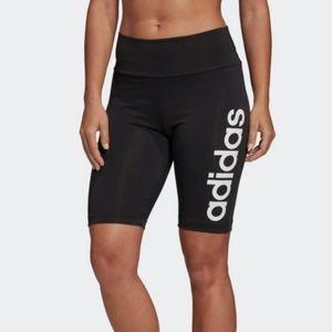 Adidas Black and Green Short Tights NWT